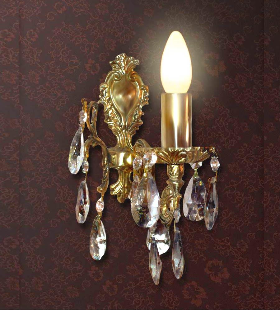 Бра бронза 1 ламп с хрусталем