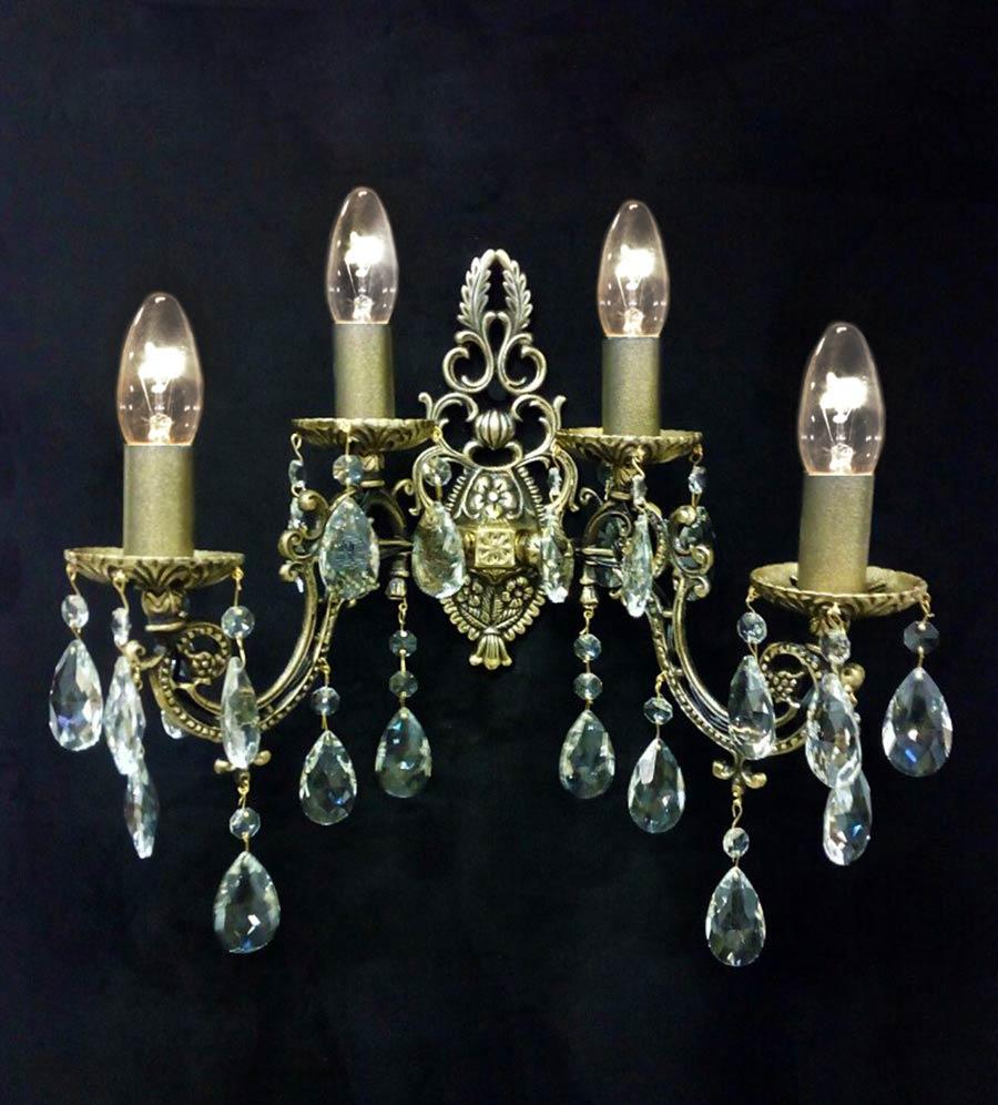 бра 4 лампы бронза с хрусталем