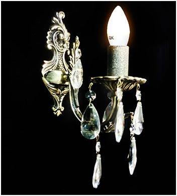 Настенная бра 1 ламповая из бронзы с хрусталем
