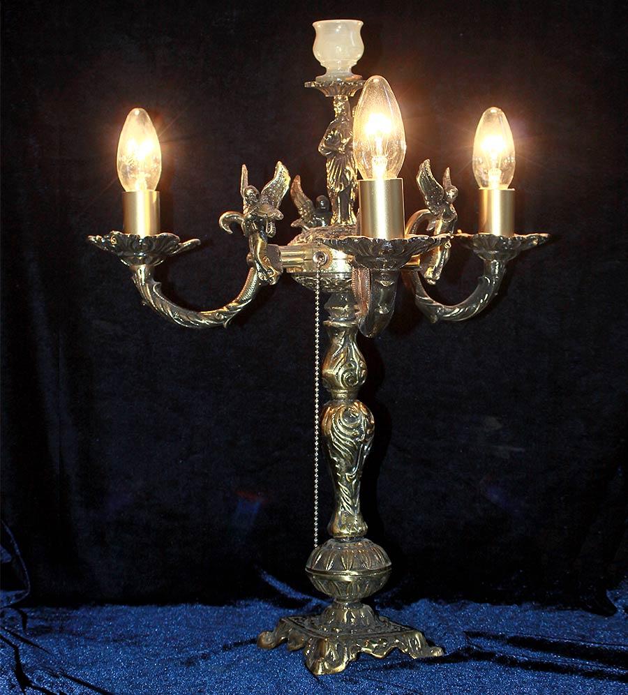 бронзовая настольная лампа 3 ламп