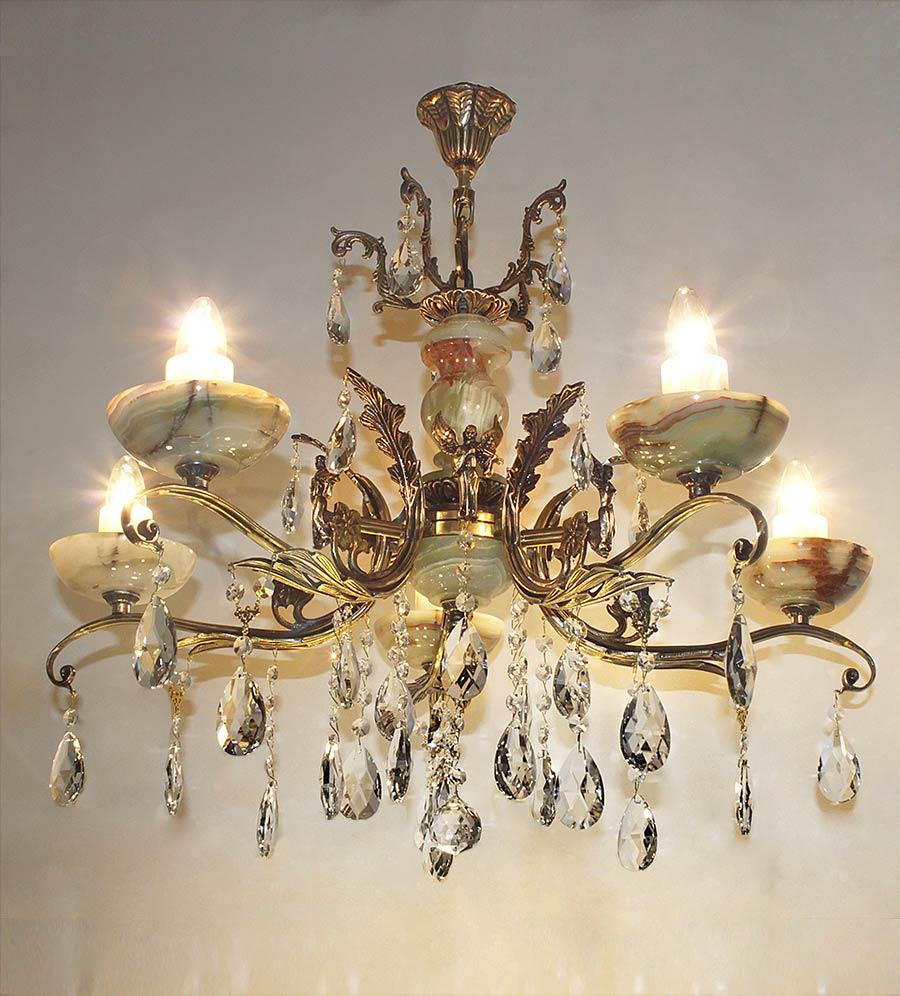 Люстра бронза с ониксом 5 ламповая