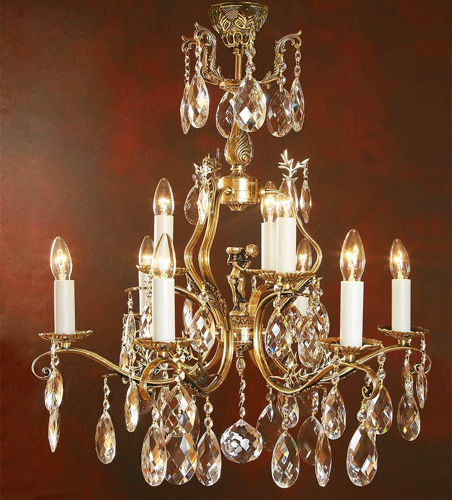 Бронзовая люстра с хрусталем 9 ламп