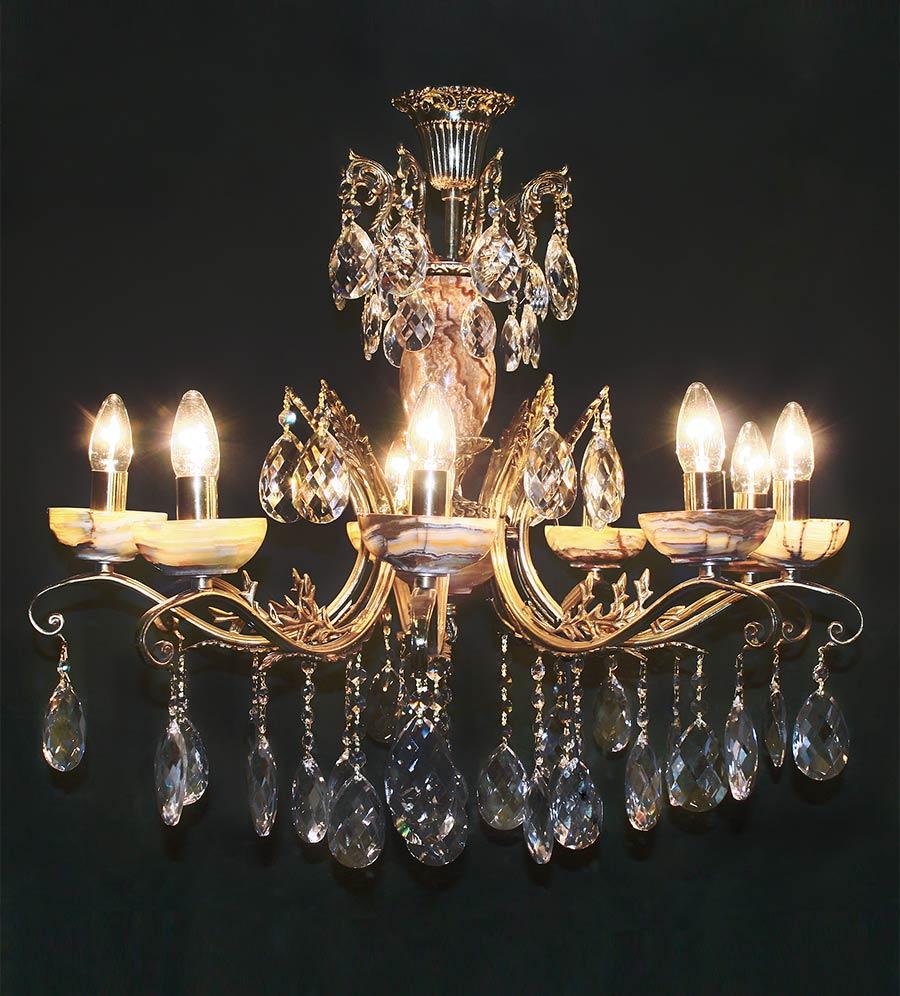 Люстра 9 ламп бронзовая с камнем оникс