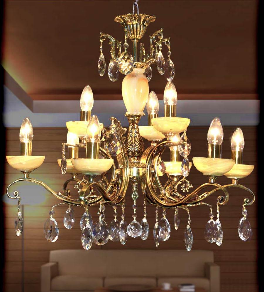 люстра для гостиной 9 ламповая из бронзы