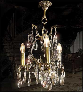 Бронзовая люстра 3 ламповая с хрусталем