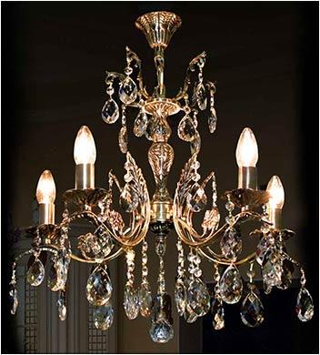 Подвесная бронзовая люстра 5 ламповая