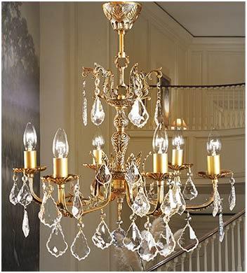 Классическая бронзовая люстра 6 ламповая