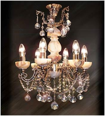 Подвесная бронзовая люстра 6 ламповая с камнем оникс