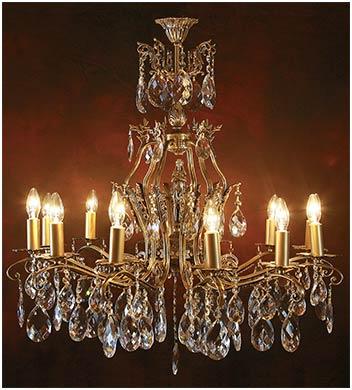 Люстра в гостиную из бронзы 12 ламп