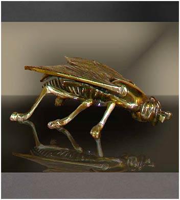 Бронзовая пепельница муха