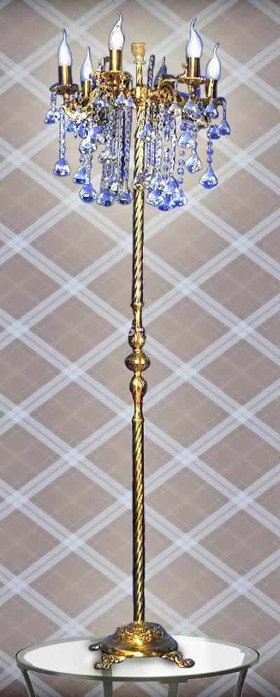 Торшер бронзовый с хрусталем